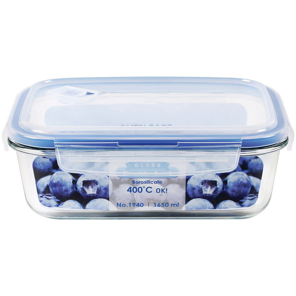 JCJ Double Lock Glass Container 1650ml