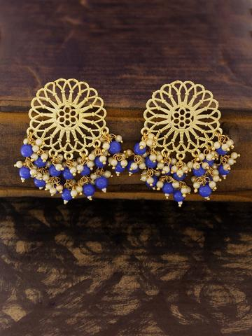 Gold Plated Geometric Design Drop Earring By Panaah