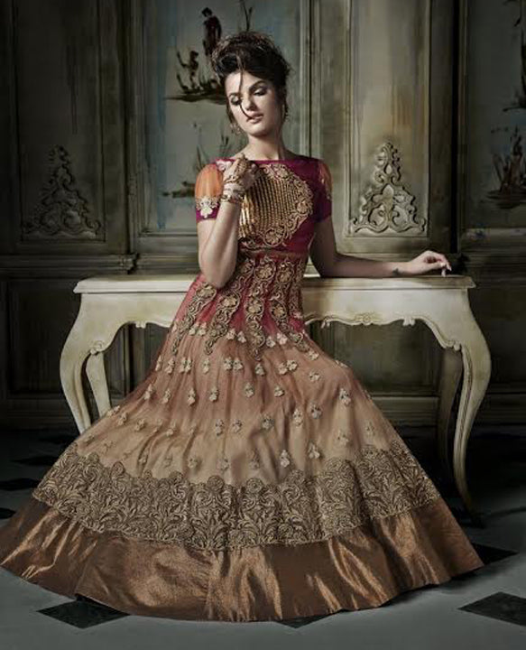 Georgette Embroidered Party Wear Dress For Women