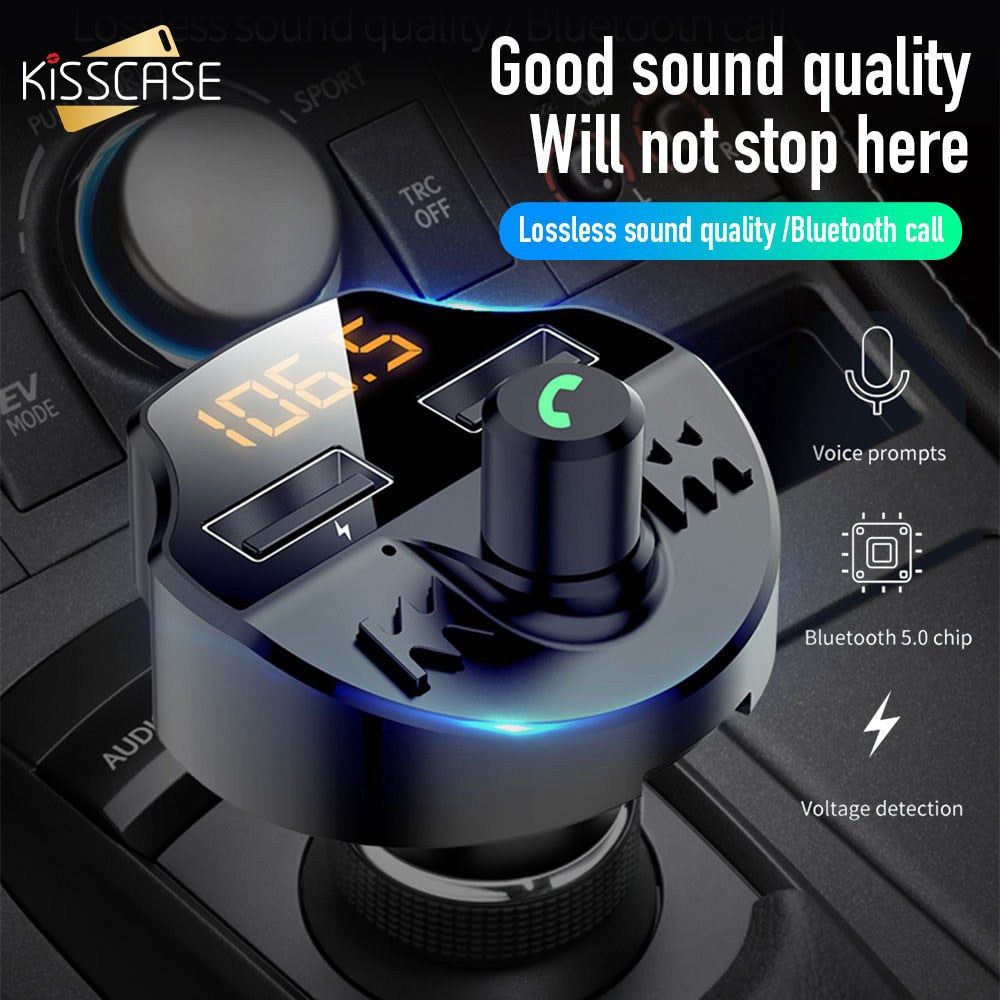KISSCASE Dual USB Car Charger Bluetooth 5.0 3.1A Mobile Phone Charger for Xiaomi 9t 9t pro Chargeur Double USB for iPhone 8 Plus
