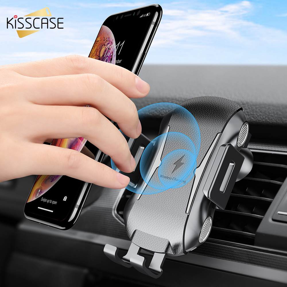 KISSCASE Qi Car Wireless Charger for iPhone X XS MAX Samsung Note 10 Plus Intelligent Sensor Wireless Charging Car Phone Holder