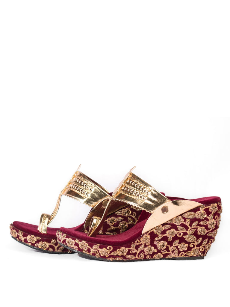 Moroon & Golden Embroidered Kolhapuri Wedges