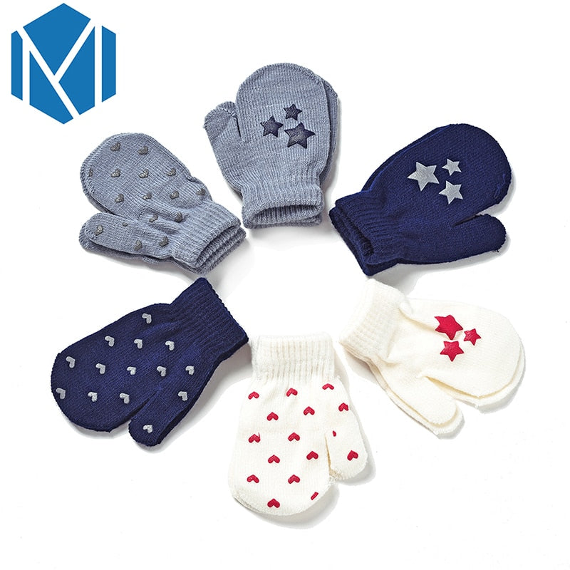 Baby Kids Dot Star Heart Pattern Gloves Boys Girls Winter Warm Knitted Mittens
