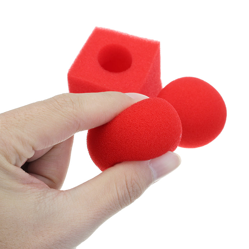 Kingmagic Magic Ball To Square Sponges Tricks Set Red