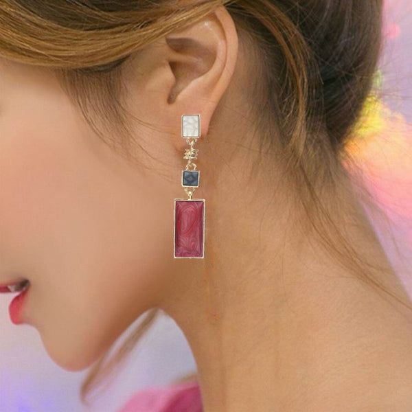 Korean Style Simple Design Earrings For Women Girls Red Stone Dangle Earrings Geometric Earrings Trendy Temperament Pendientes