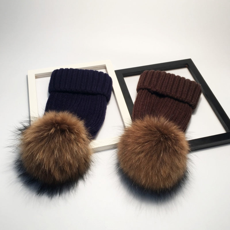 Korean-style Autumn And Winter New Style Wool Cap Fox Furry Ball Knitted Hat-Casual Warm Earmuff Cap Factory Direct