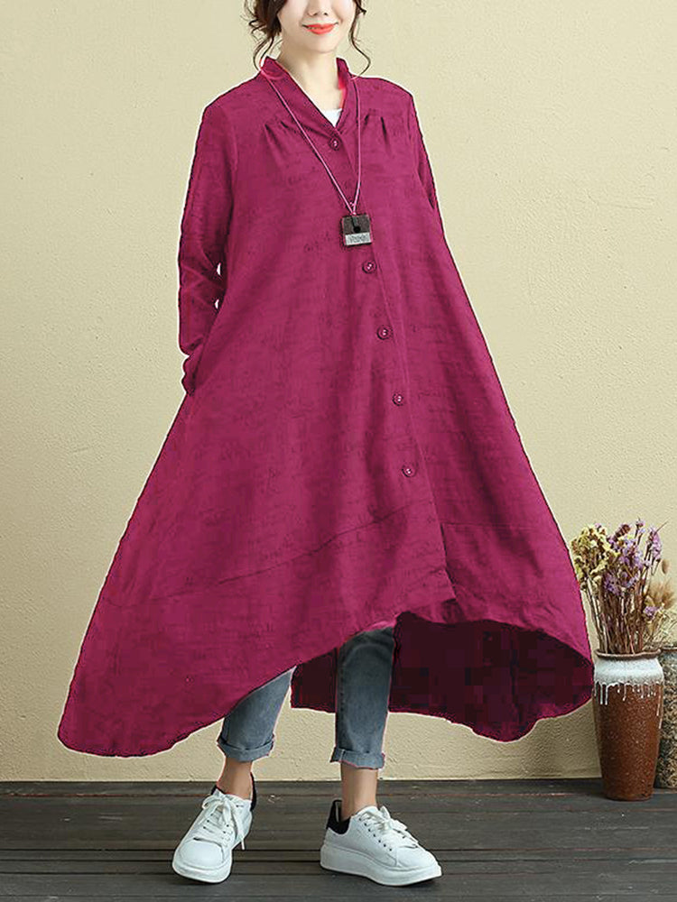 L-5XL Casual Women Button Cotton A-line Dress