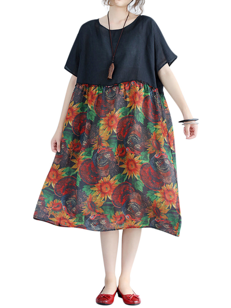 Large Size Women Floral Dress Batwing Sleeve Patchwork Dresses