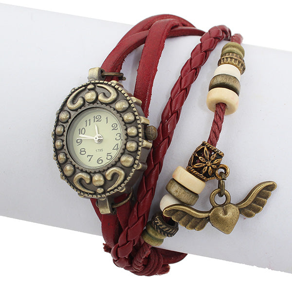 Leather Angel Beads Bronze Knit Vintage Bracelet Women Wrist Watch
