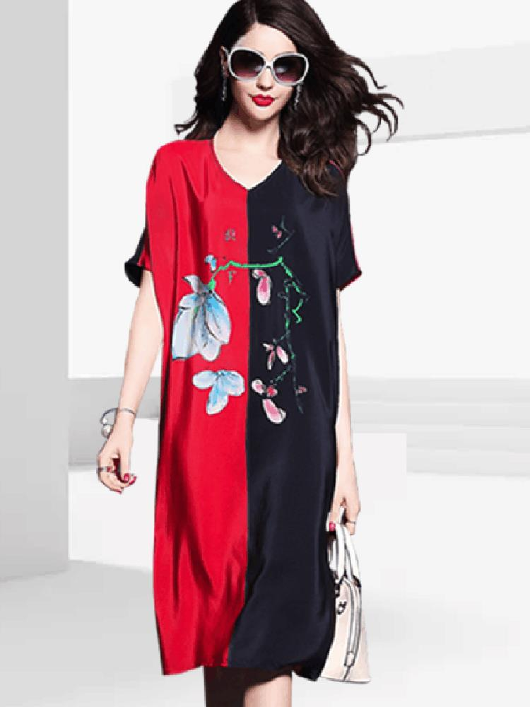 Loose Women Contrast Short Sleeve Floral Maxi Dress