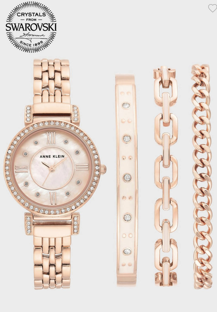 Anne Klein AK3400BHST Watch And Bracelet Gift Set