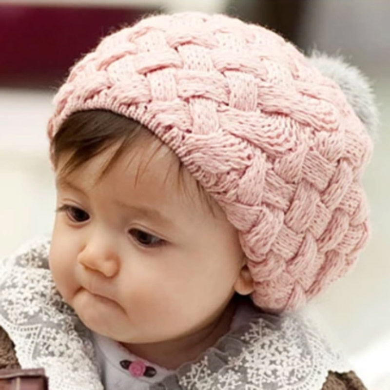 MAERSHEI autumn winter baby wool knit hat children's hair ball twisted rabbit wool hat boys and girls warm beret