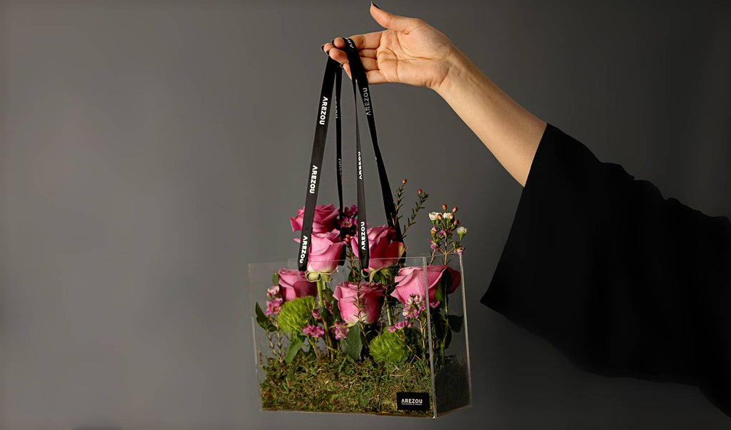 Mother's Day Flower Gift - A luxurious acrylic gift bag with seasonal fresh flowers