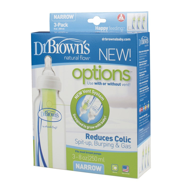 "Dr. Brown's 8 oz / 250 ml PP Narrow-Neck ""Options"" Baby Bottle, 3-Pack"