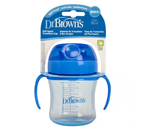 Dr. Brown's 6 oz Soft-Spout Transition Cup - Blue (Stage 1: 6m+)