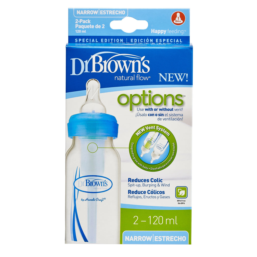 "Dr. Brown's 4 oz / 120 ml PP Narrow-Neck ""Options"" Baby Bottle - Blue, 2-Pack"