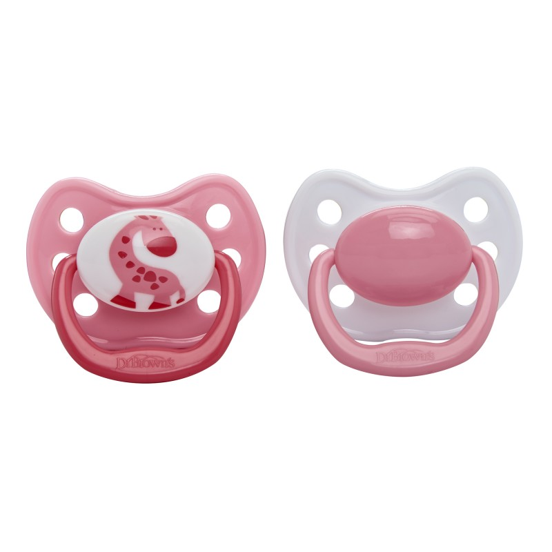 Dr. Brown's Ortho CLASSIC SHIELD Pacifier - Stage 1 * 0-6M - Pink, 2-Pack