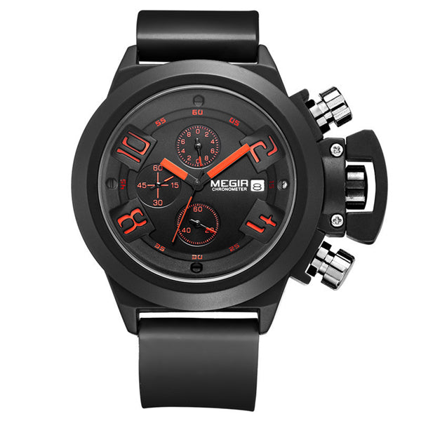 MEGIR 2002 Men Calendar Rubber Strap Sport Quartz Watch