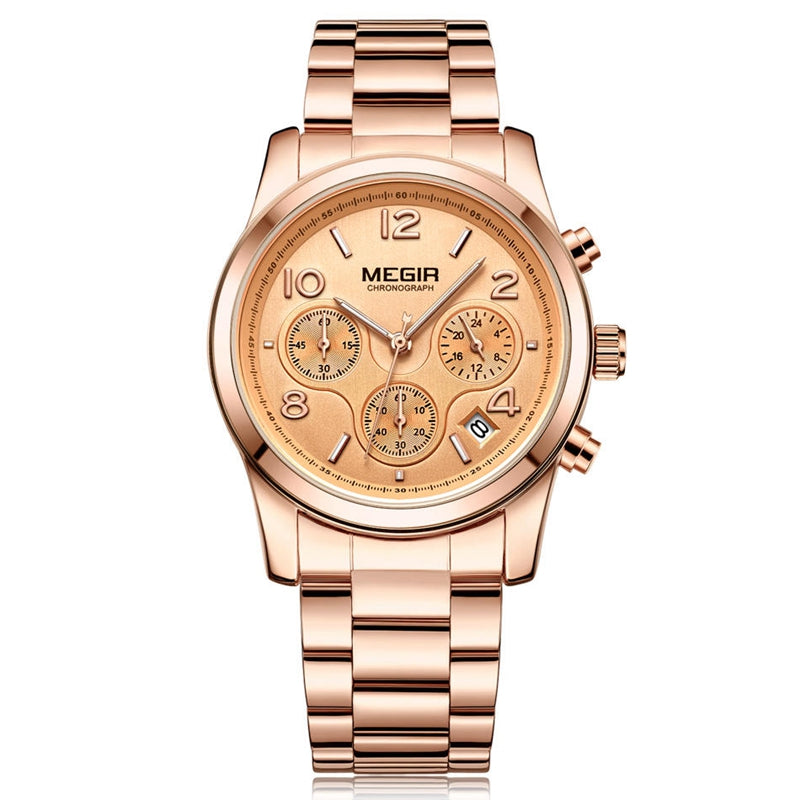 MEGIR 2057 Women Watch Luxury Fashion Chronograph Ladies Quartz Wrist Watch