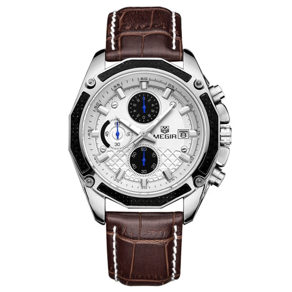MEGIR M2015 Men Watch Leather Strap Multifunction Chronograph Fashion Casual Quartz Wrist Watch