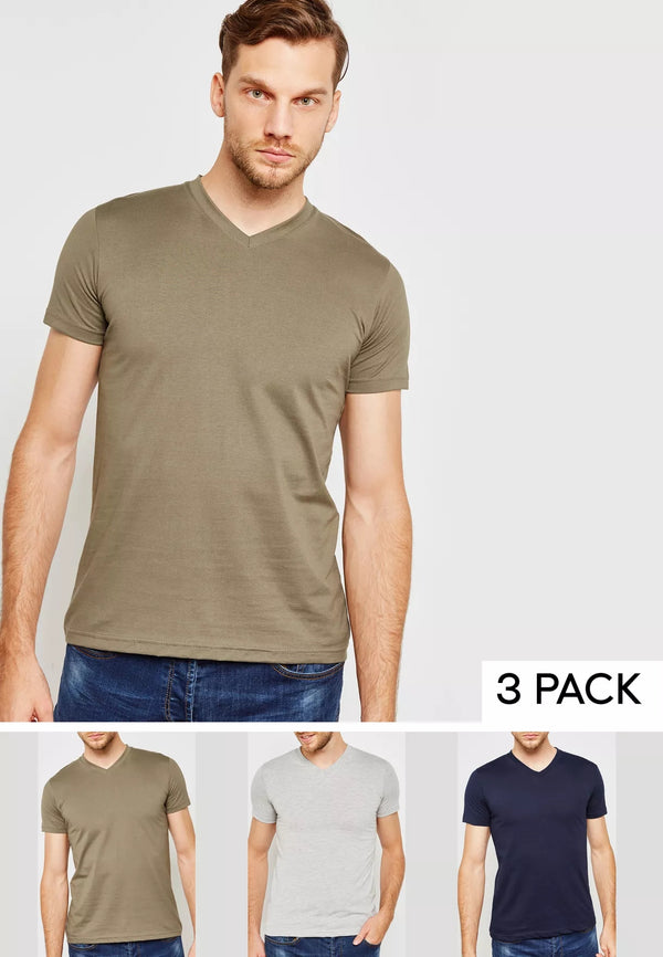 FIFTEEN MINUTES 3 Pack Basic V Neck T-Shirts