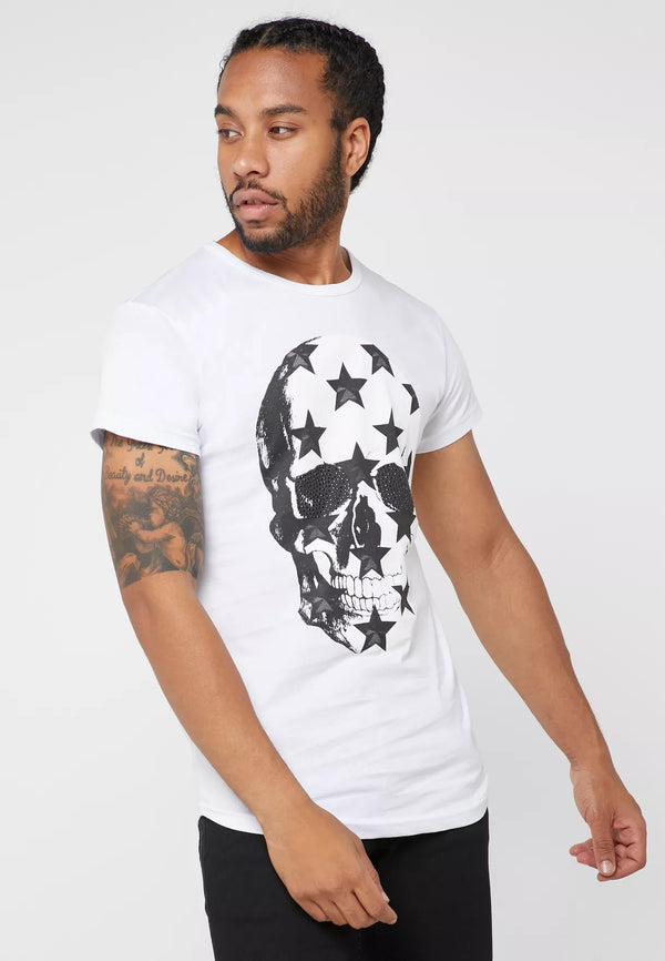 SEVENTY FIVE Star Skull Print Crew Neck T-Shirt