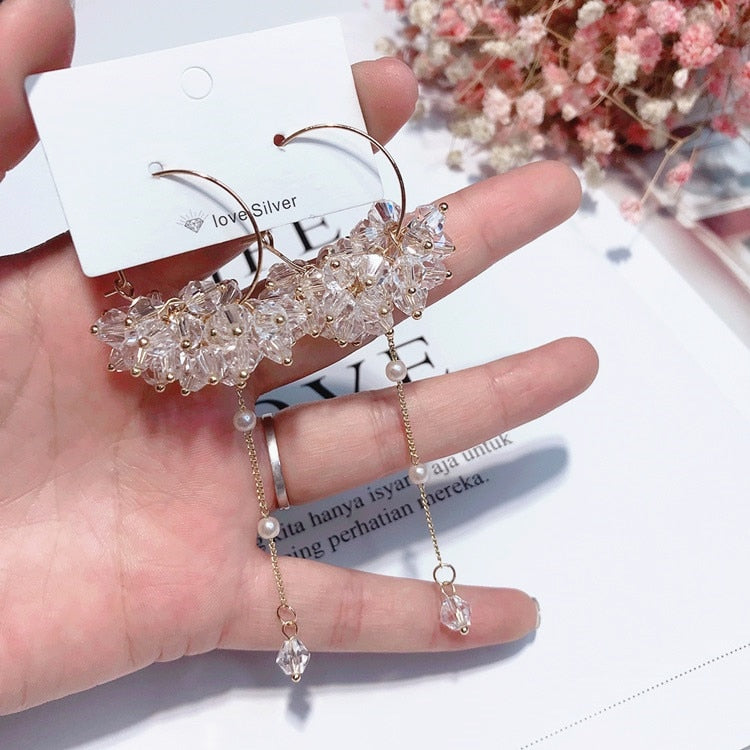 MENGJIQIAO 2018 Korean New Trendy Earrings Big Circle Transparent Crystal Beads Long Tassel Earrings For Women Fashion Jewelry