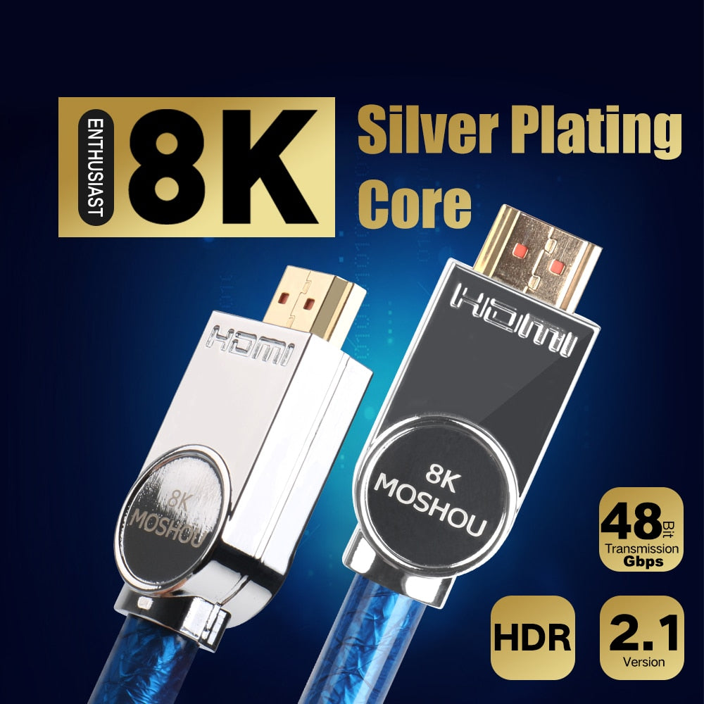 MOSHOU HDMI Cable Ultra-HD (UHD) 8K HDMI 2.1 to AV 48Gbs with Audio & Ethernet HDMI Cable 1M 2M 5M 10M 15M 20M 4M HDR 4: 4: XNUMX
