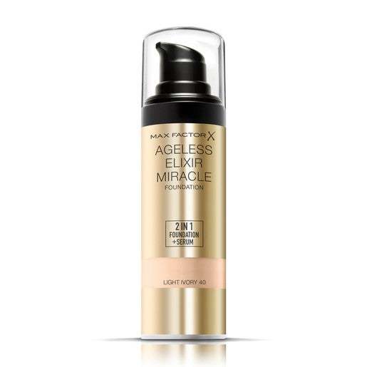 ماكس فاكتور Ageless Elixir 2 in 1 Liquid Foundation + Serum 40 Light Ivory 30ml