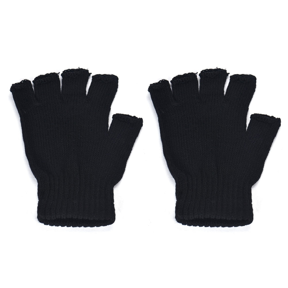 Men Black Knitted Stretch Elastic Warm Half Finger Fingerless Gloves 2019