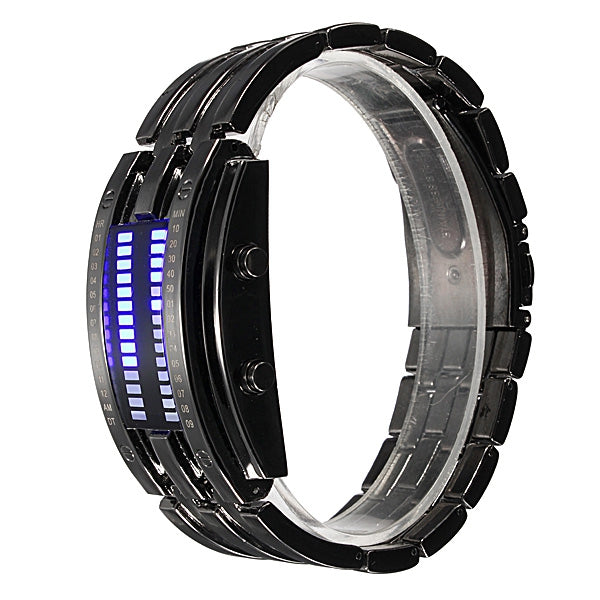 Men Women Black Silver Stainless Steel Date Digital LED Sport Watch