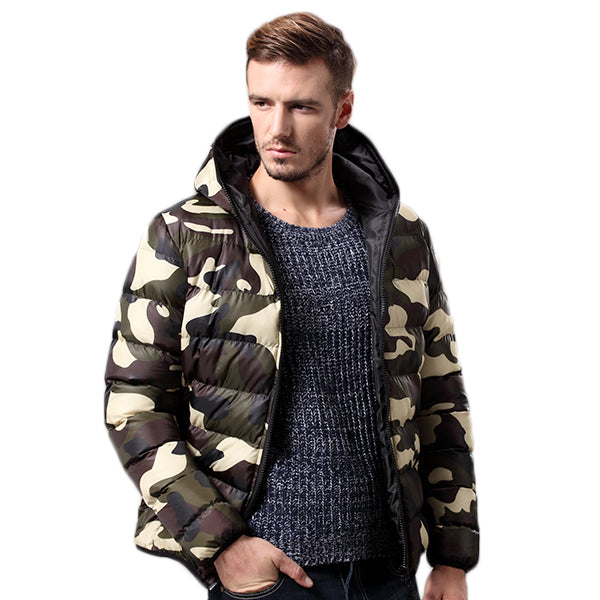 Mens Fashion Camouflage Printing Thick Winter Warm Jacket Hooded Coat