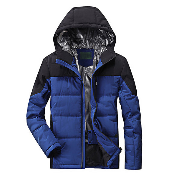 Mens Hooded Patchwork Winter Thick Warm Cotton Padded Jacket