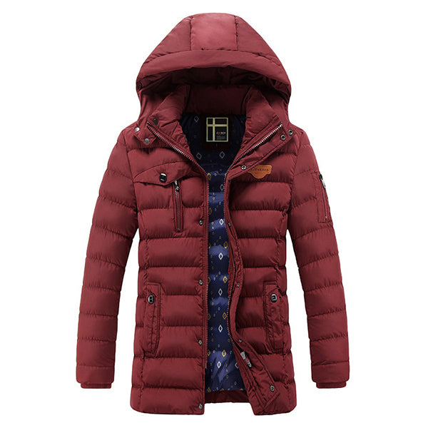 Mens Mid-long Hooded Warm Puffer Zipper Padded Jacket Parka