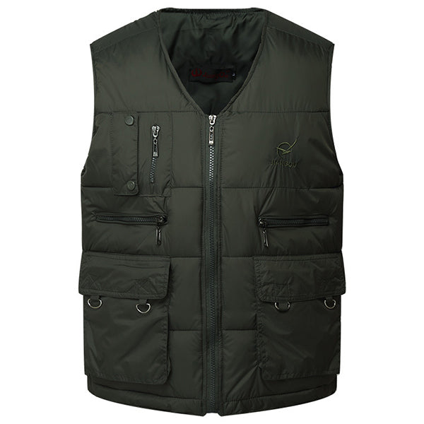 Mens Multi-pocket Embroidery V-neck Cotton Down Padded Vest