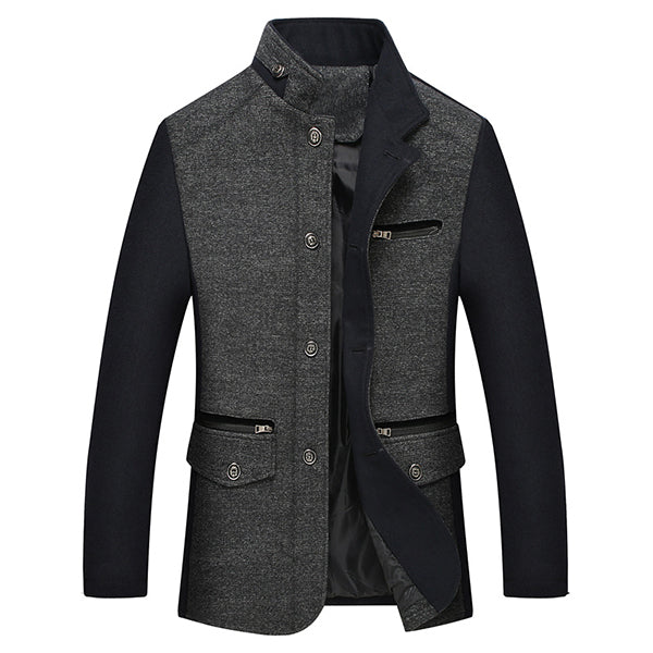 Mens Stitching Wool Jacket Zipper Stand Collar Business Coat