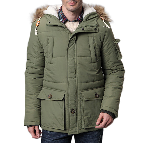 Mens Thick Winter Warm Hooded Jacket Solid Collar Multi Pockets Casual Coat Fur Collar