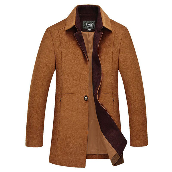 Mens Woolen Trench Coat One Button Mid Long Business Slim Fit Jacket
