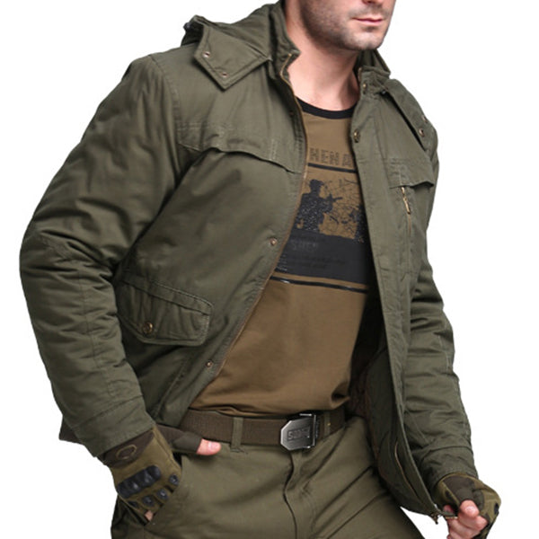 Military Style Thick Warm Army Green Hooded Cotton Jackets