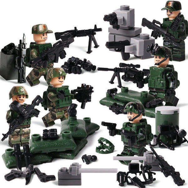 Modern military brickmania figures Knife edge army forces building block ww2 minifigs weapons bricks toys for boys gifts