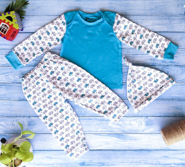 Organic cotton pant/pyjama, top and cap set