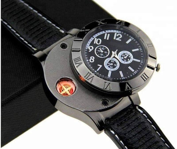 New Military USB Lighter Watch Men's Casual Quartz Wristwatches with Windproof Flameless Cigarette Cigar Lighter,