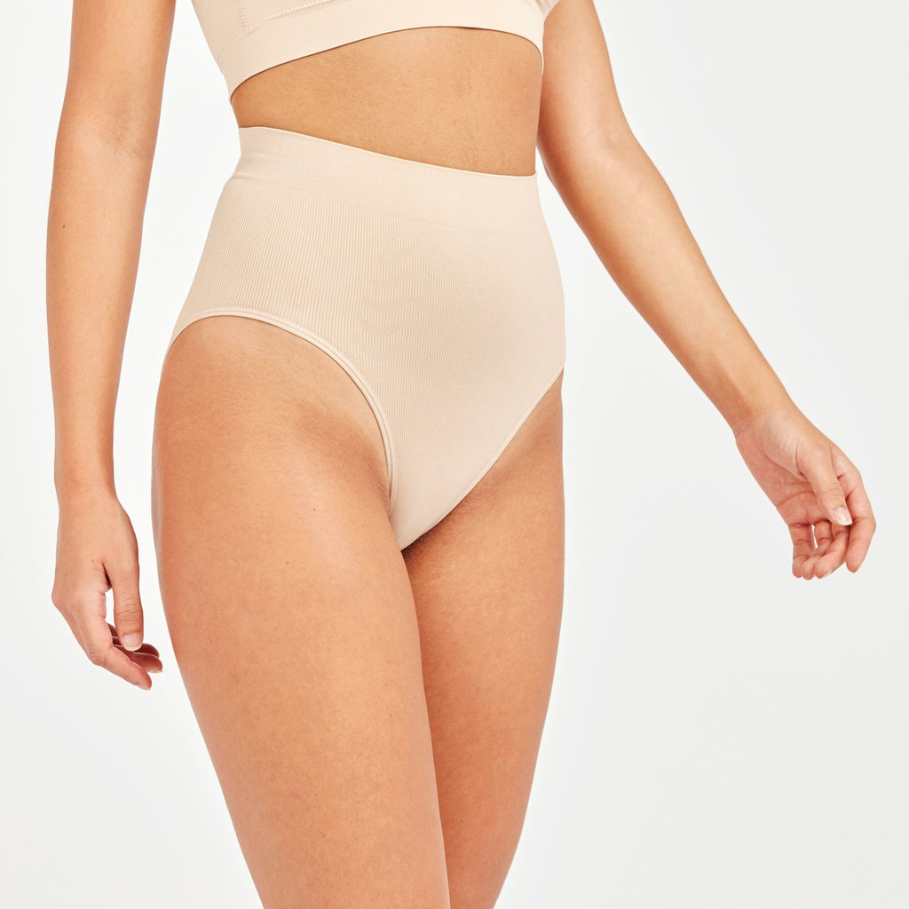 Textured Shaping Briefs with Elasticised Waistband Beige