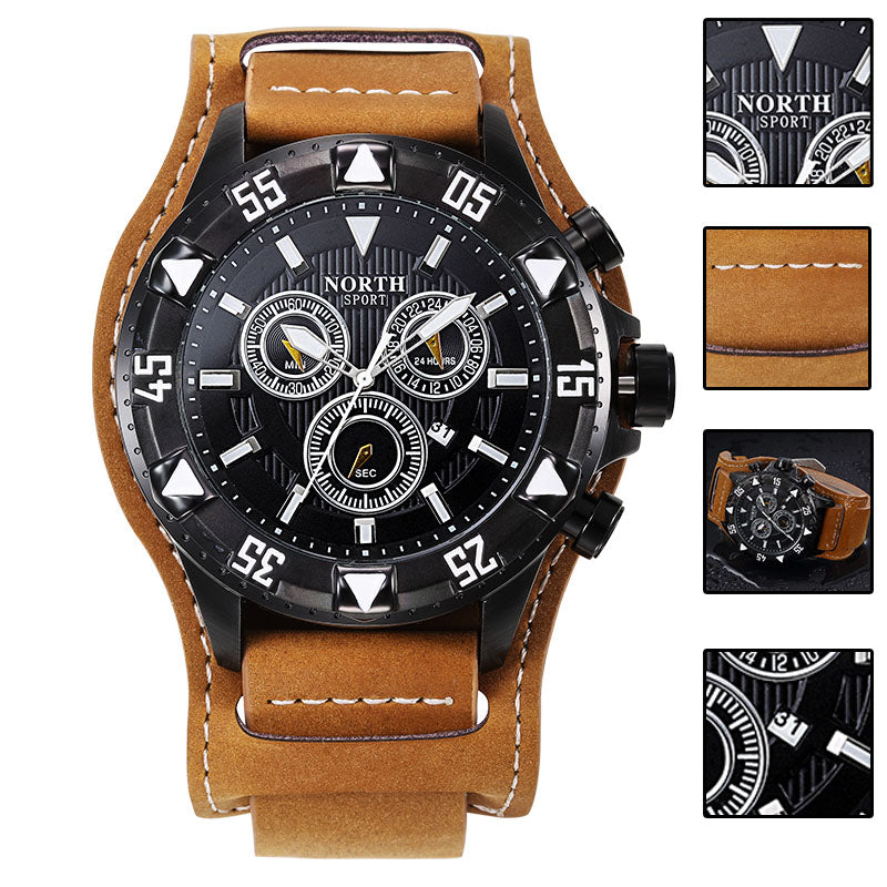 NORTH 7002 Male Leather Strap Sport Quartz Watch