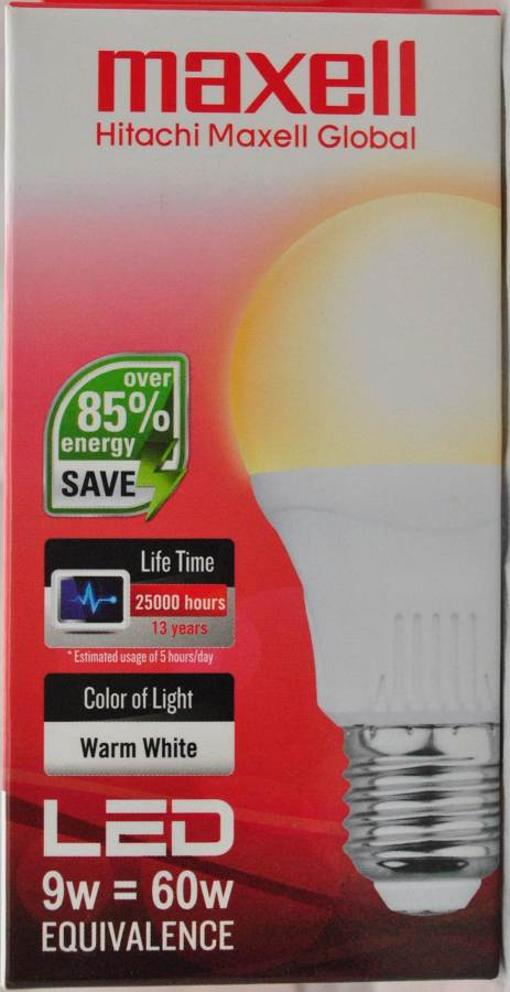 Maxell LED Lamp 9W E27  3000K  1PC