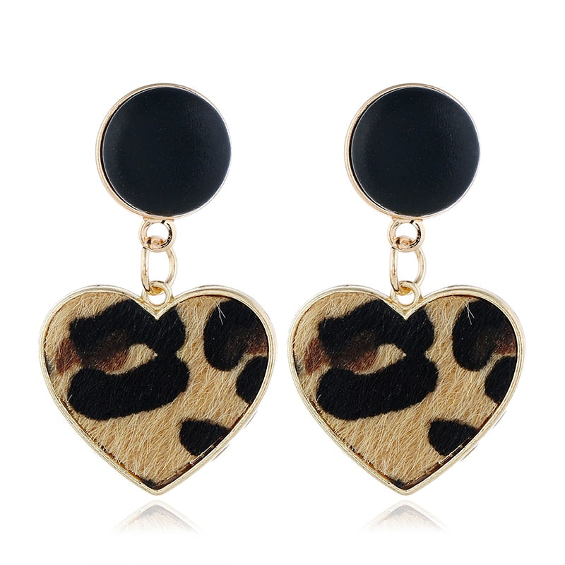 New Black Imitation Velvet Heart Geometric Leopard Drop Earrings For Women Statement Trend Jewelry Gifts Oorbellen AE780
