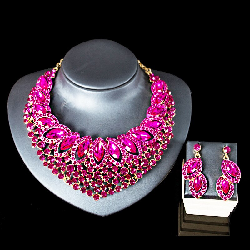 New Fashion Wedding jewelry Sets Full Austrian Crystal Necklace Earrings Sets For Women Bridal & Party Jewelry Sets JS45