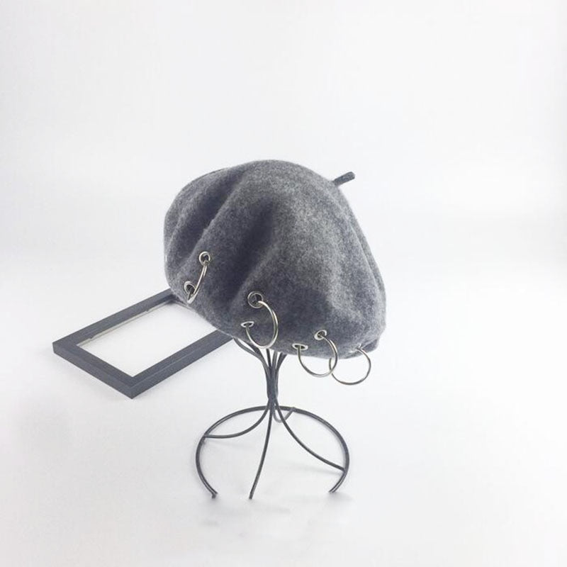New Solid Women Korean Style British Ring Cape Beret Hat Iron Hoop French Artist Beanie Hat Autumn Spring Winter Punk Beret Hat
