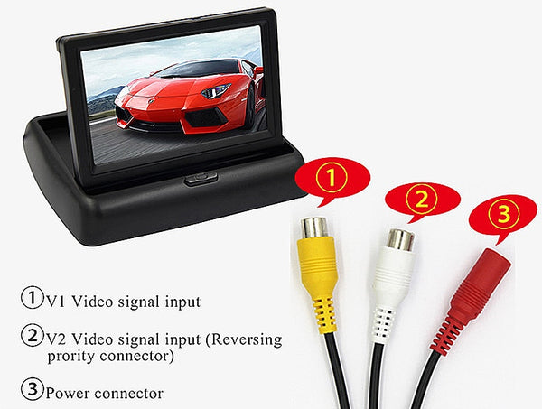 Night Vision Car Rear View Backup Camera Foldable 4.3 Inch LCD Display Monitor Vehicle Reversing Parking System+ Wireless Video
