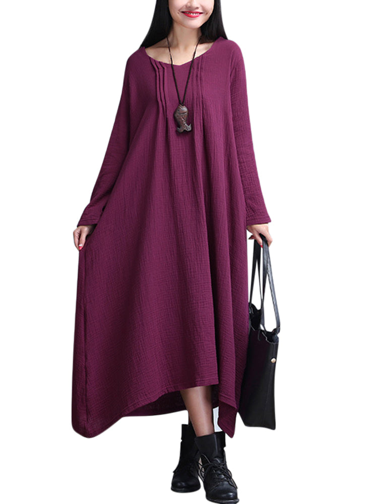 O-NEWE Loose Women Folk Style Solid Color Pleated Maxi Dress